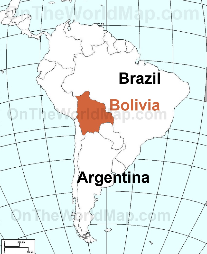 Bolivia on the World Map Bolivia on the South America Map