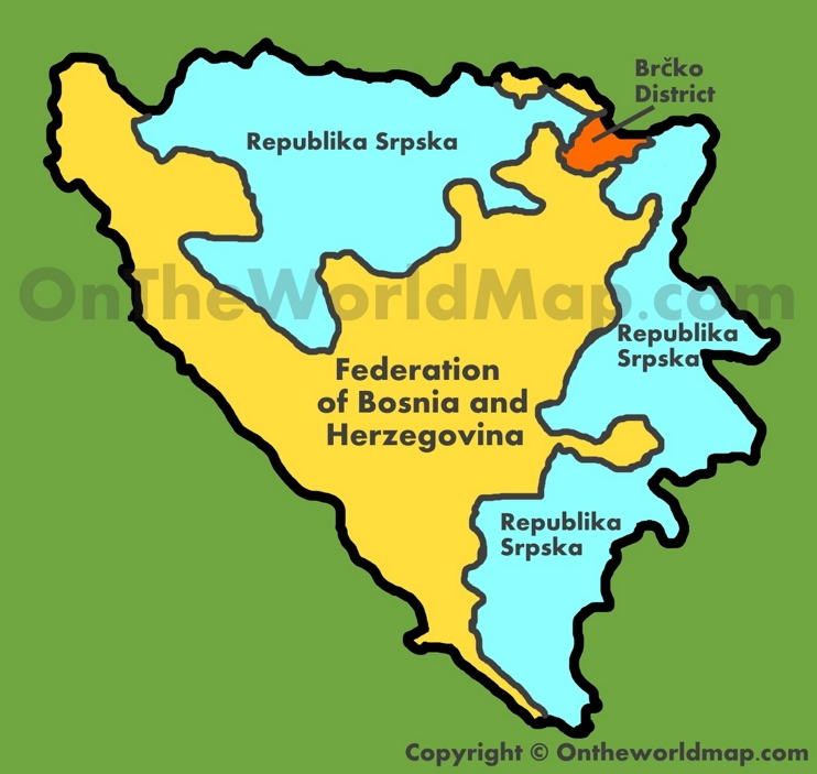Administrative map of Bosnia and Herzegovina