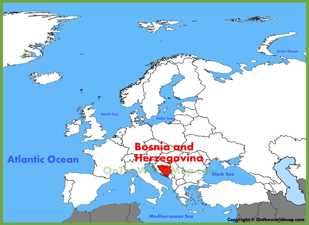 Bosnia and Herzegovina location on the Europe map