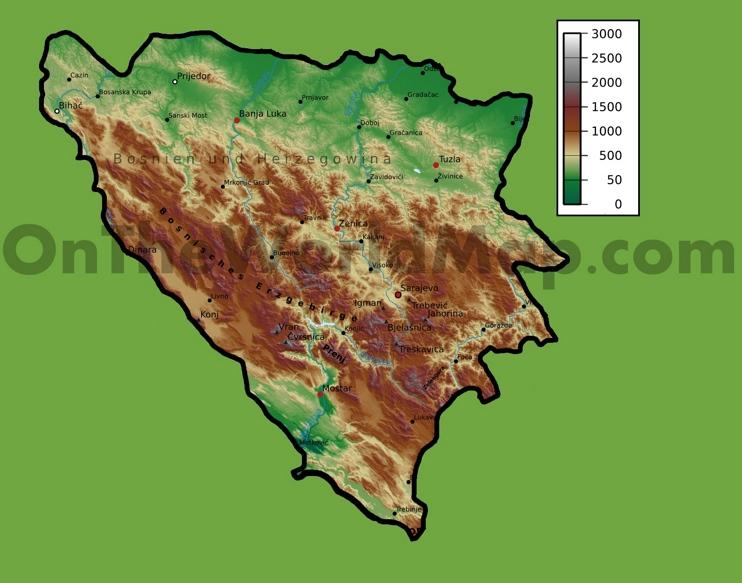 Bosnia and Herzegovina physical map