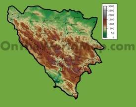 Bosnia and Herzegovina physical map