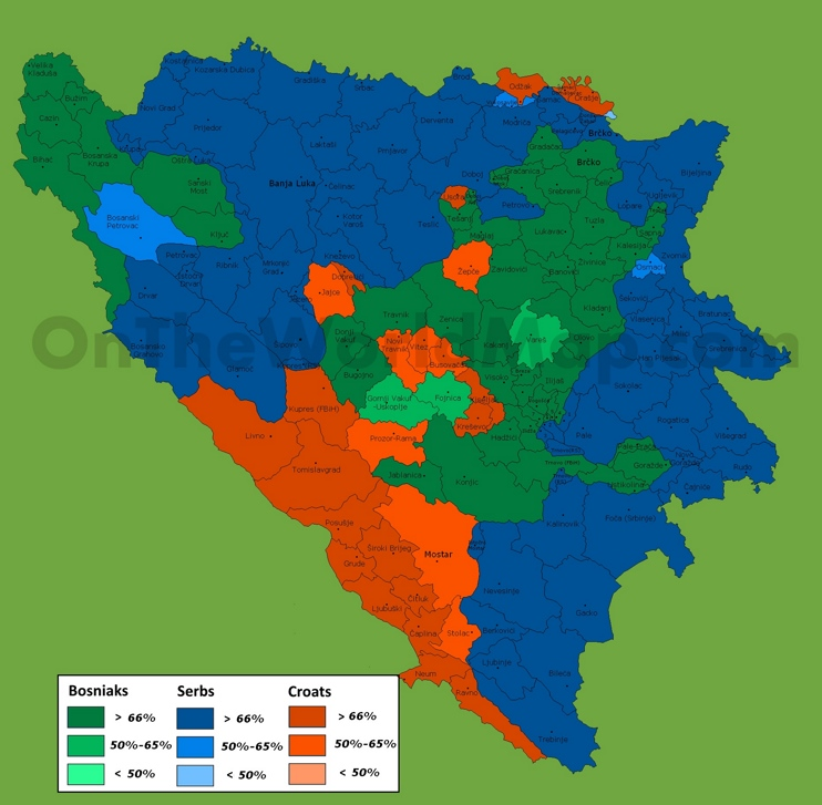 Map of ethnic groups in Bosnia and Herzegovina