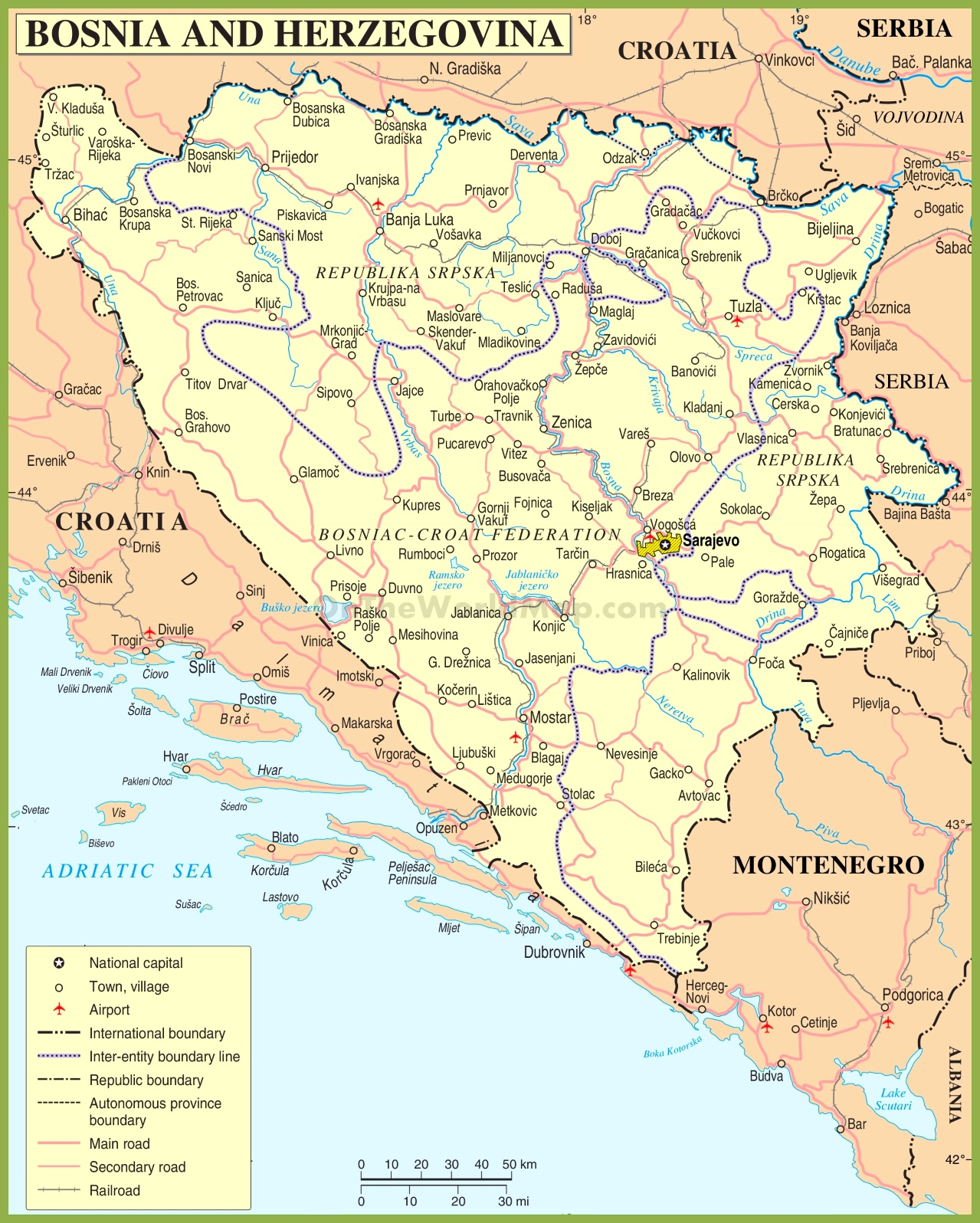 Road map of Bosnia and Herzegovina