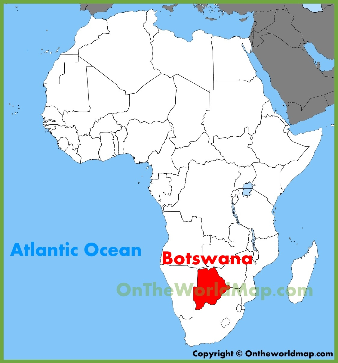 Botswana location on the Africa map