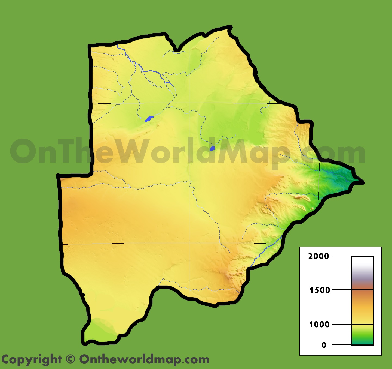 Botswana physical map