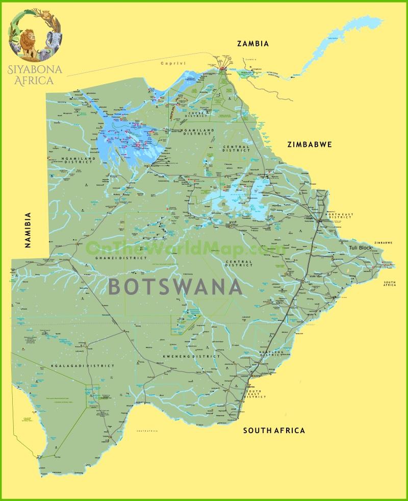 Large detailed map of Botswana