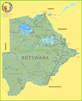 Large detailed map of Botswana