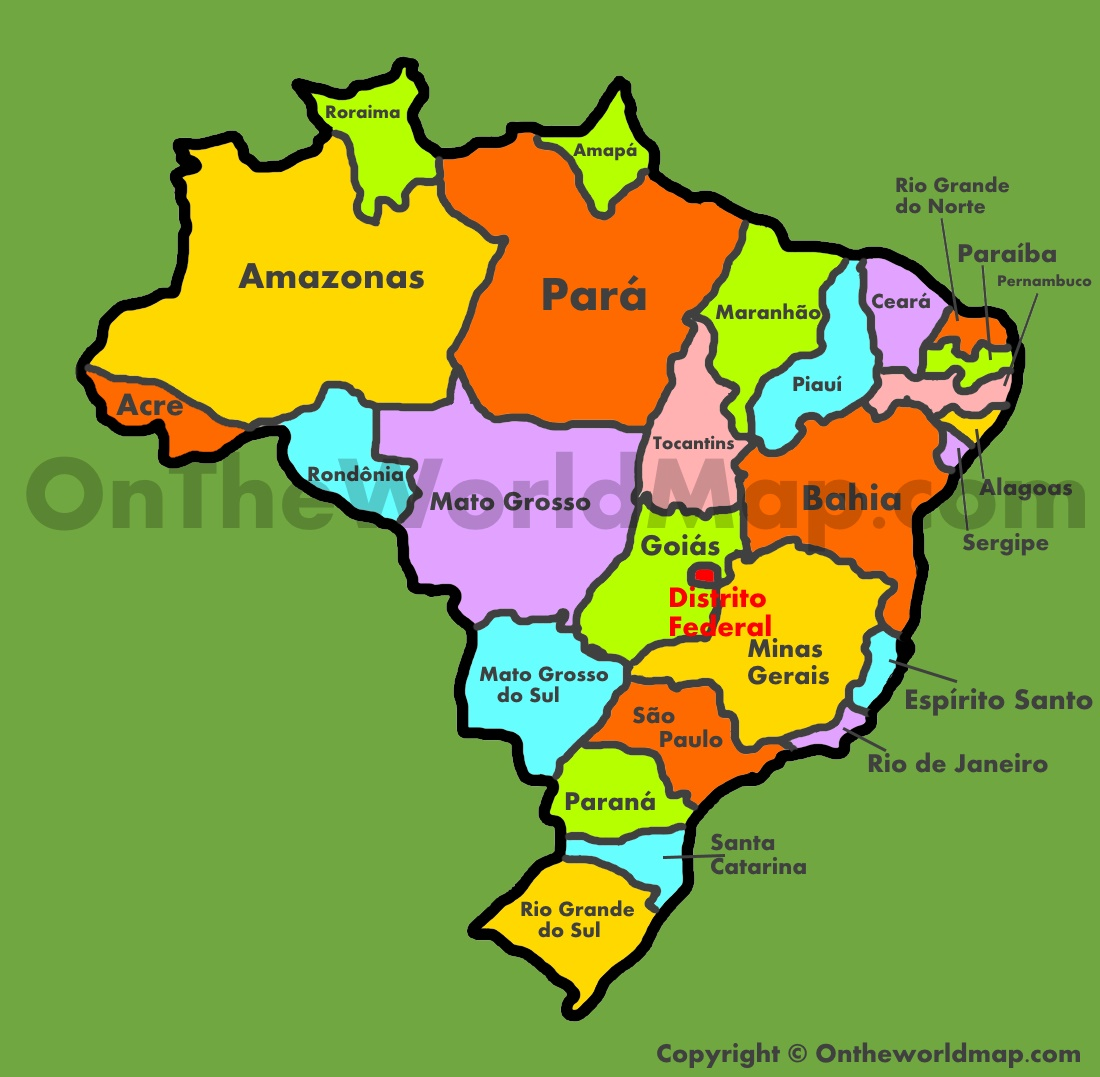 Brazil states map Administrative map of Brazil