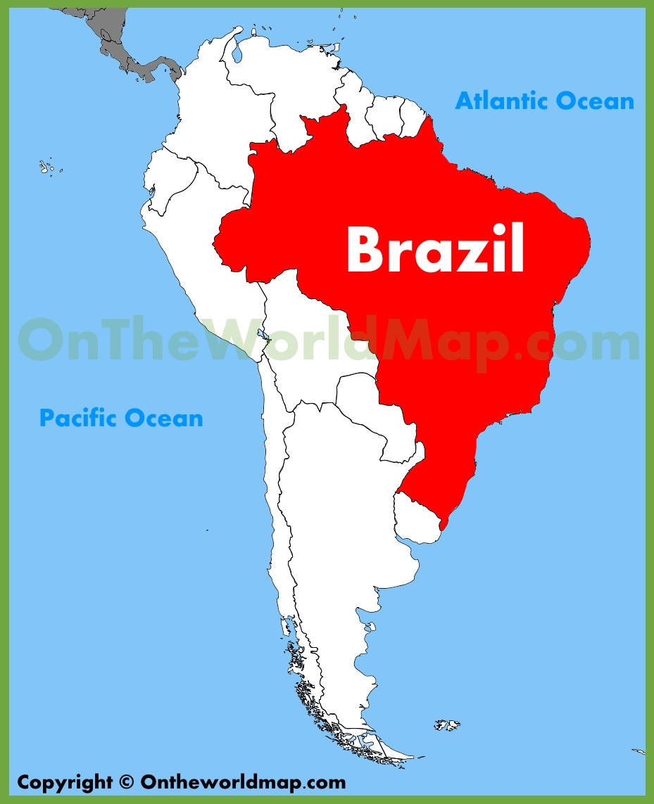 Where Is Brazil On The Map Brazil location on the South America map