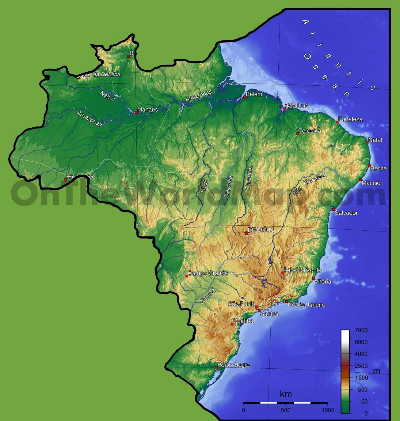 Brazil Physical Map - Brazil map