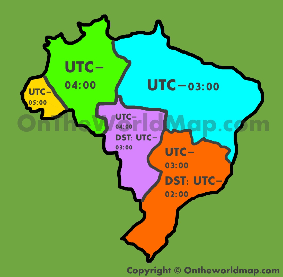 Brazil Time Zone Map - Us time zone map with times
