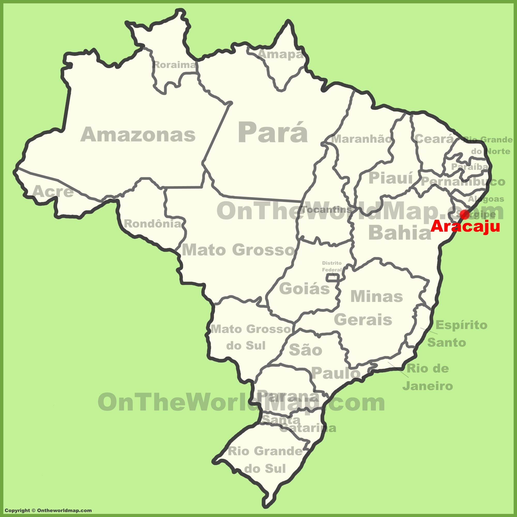 Aracaju location on the Brazil map