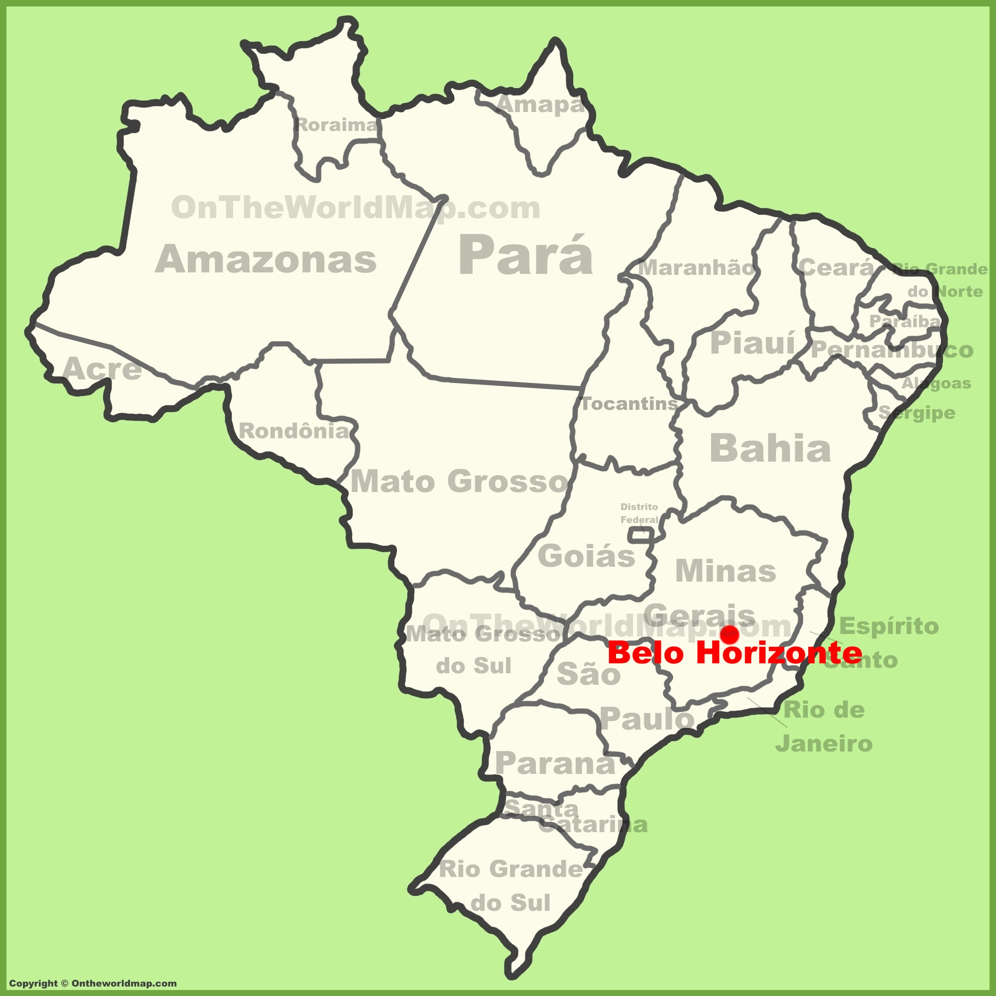 Belo Horizonte location on the Brazil map