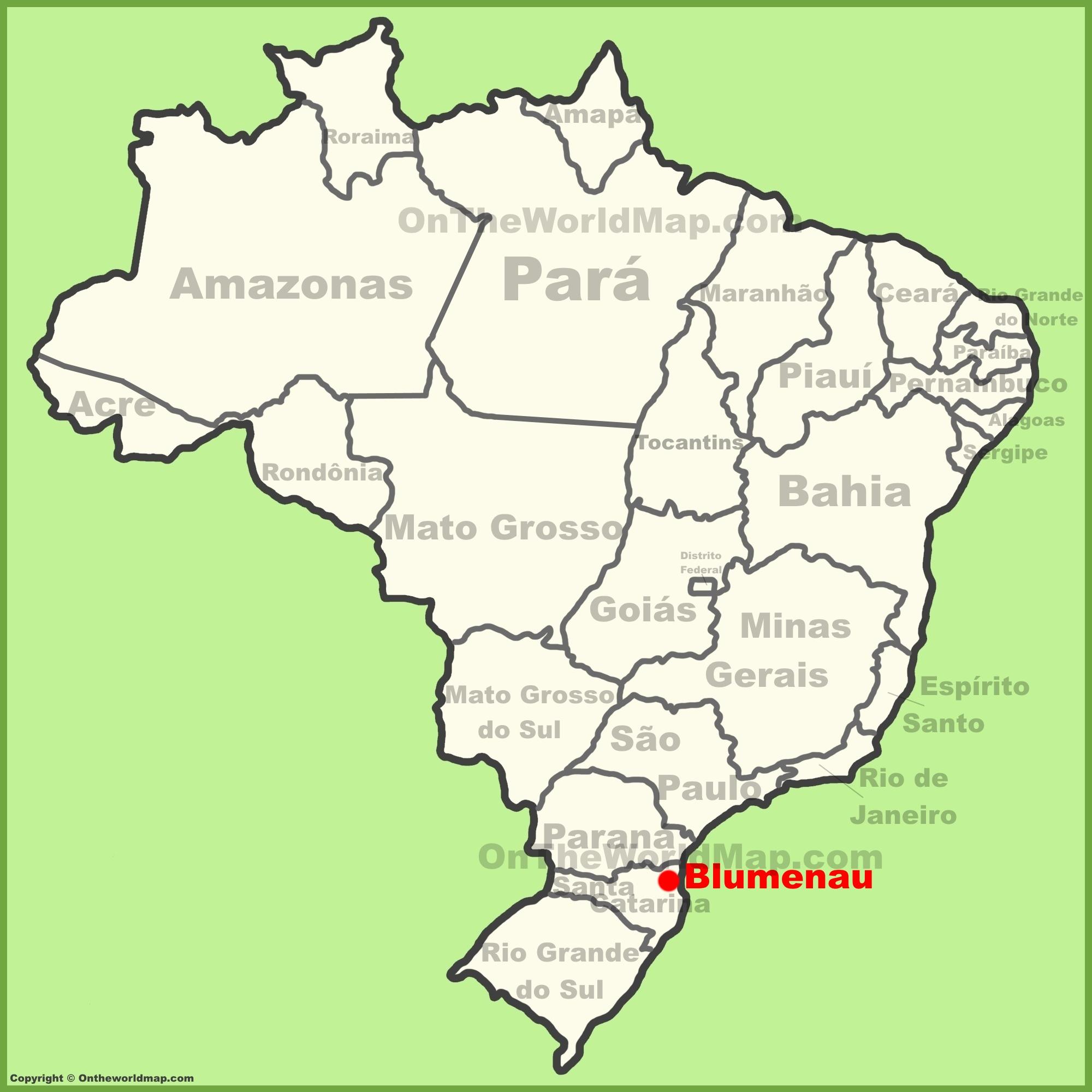 Blumenau location on the Brazil map