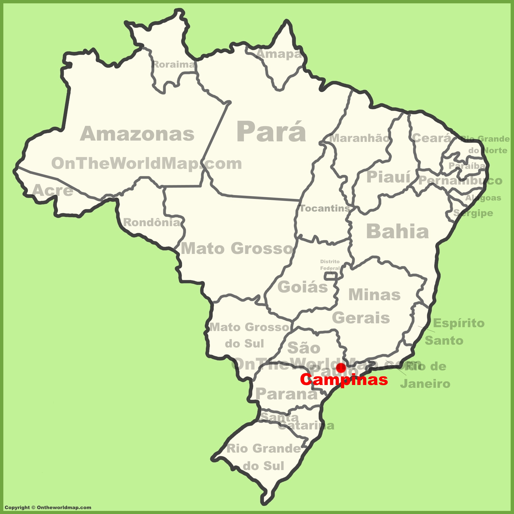 Campinas Brazil Map Campinas location on the Brazil map