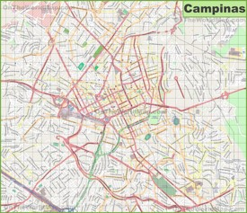 Large detailed map of Campinas