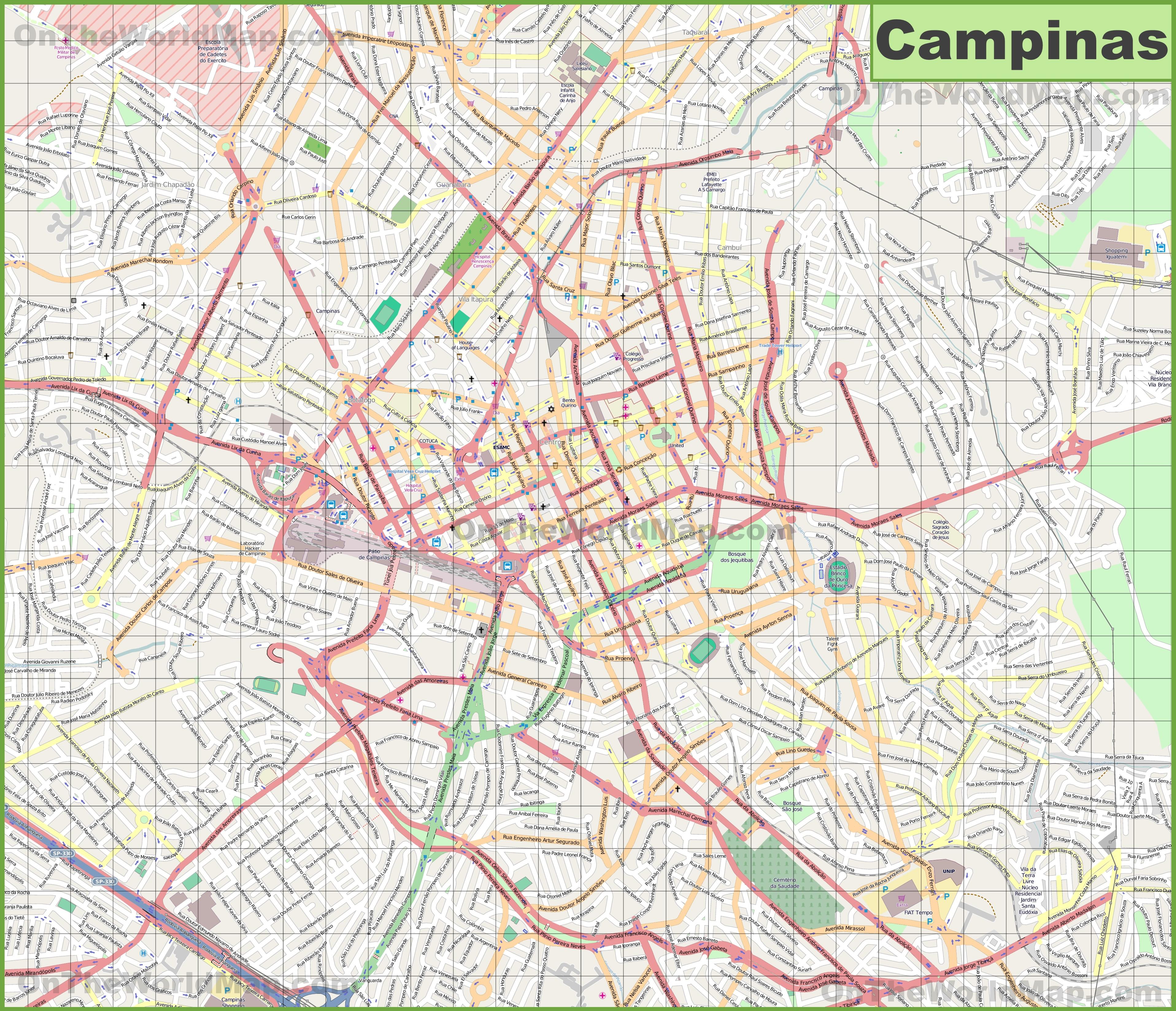 Large detailed map of Campinas