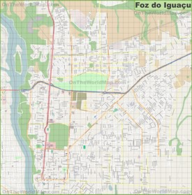 Large detailed map of Foz do Iguaçu