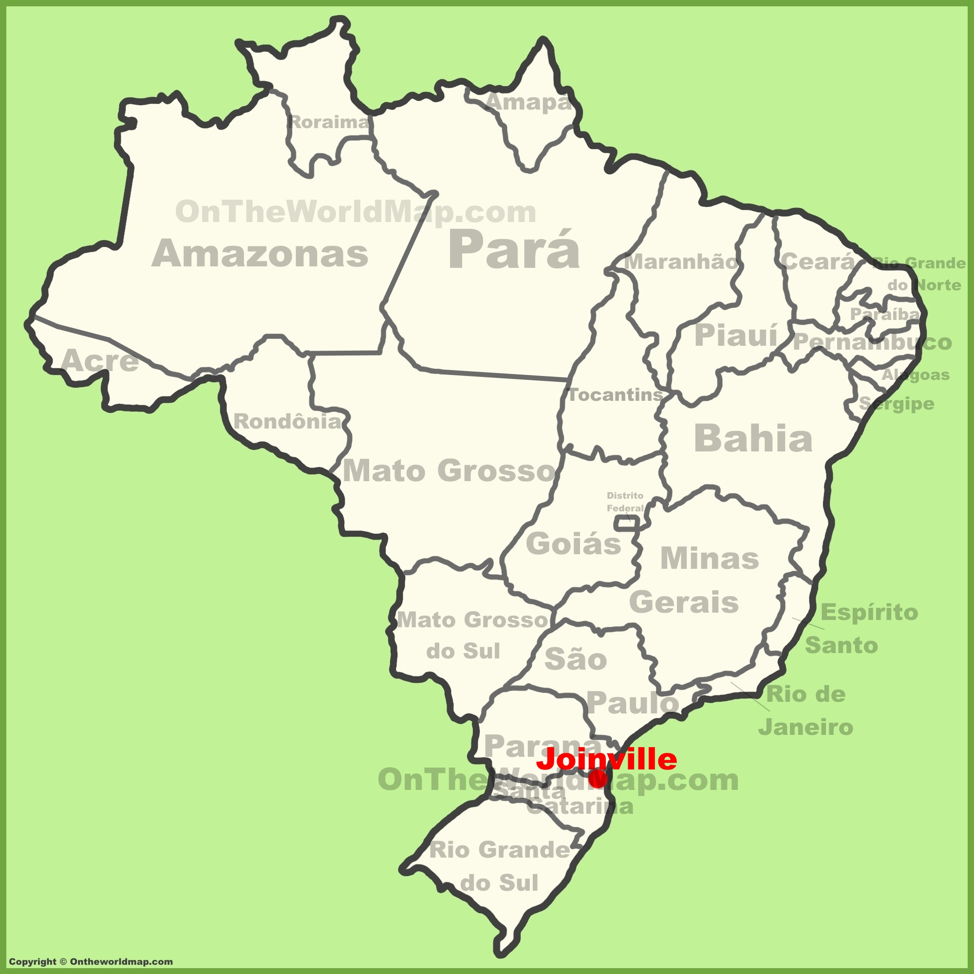Joinville location on the Brazil map
