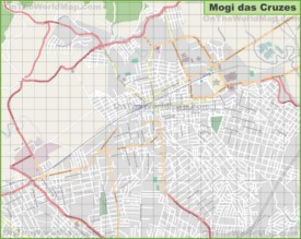 Large detailed map of Mogi das Cruzes