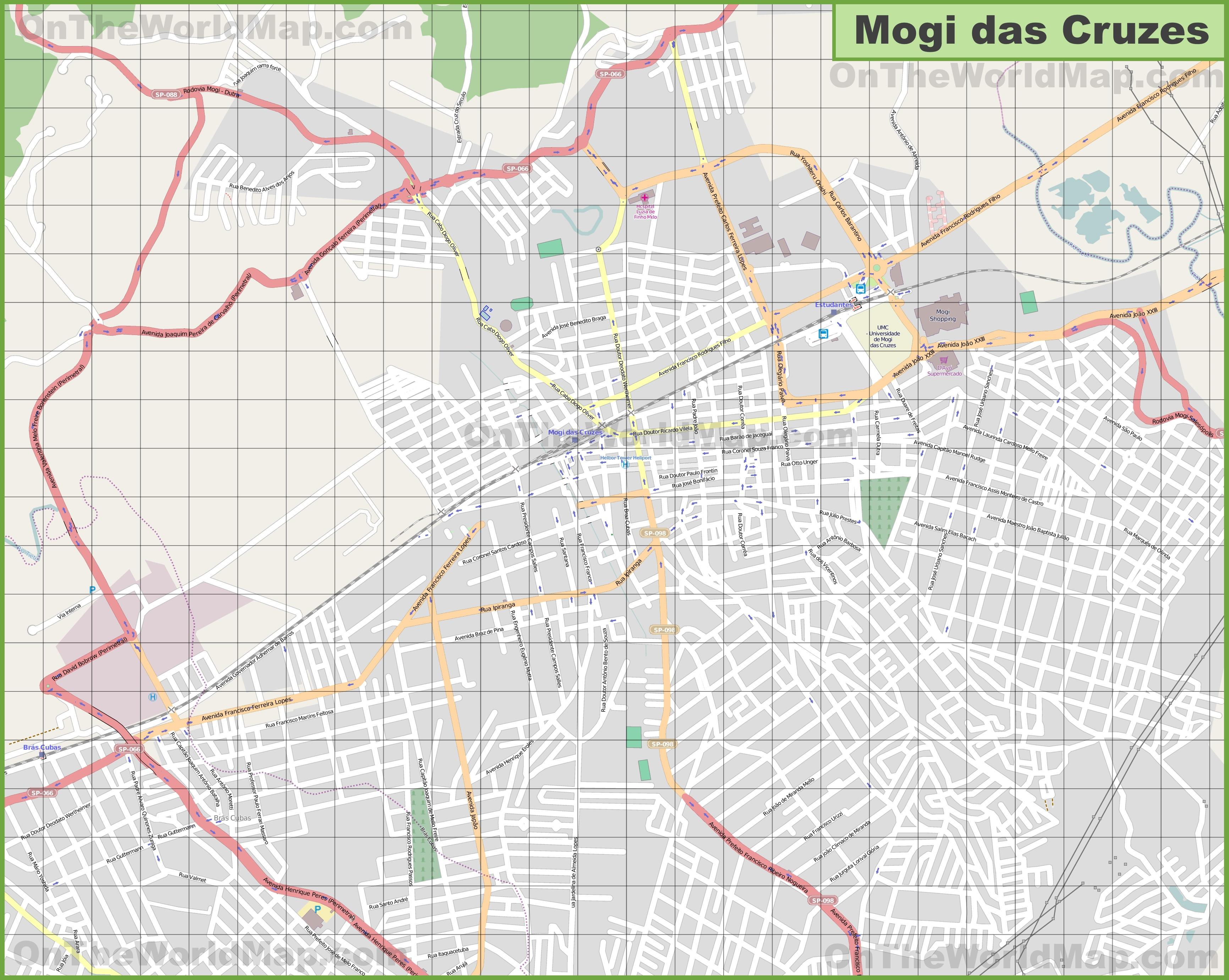 Large detailed map of Mogi das Cruzes