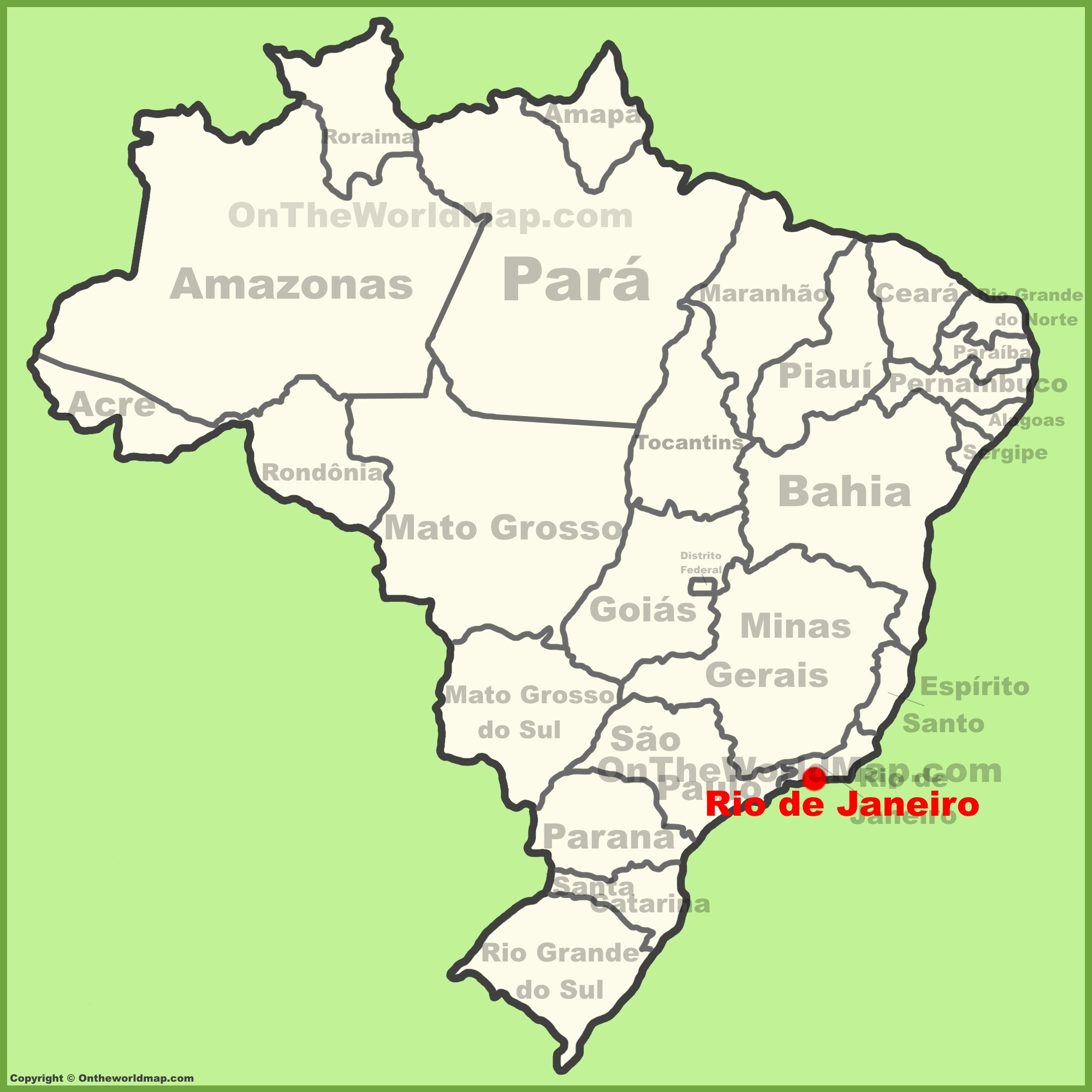 Rio Map Brazil Rio de Janeiro location on the Brazil map