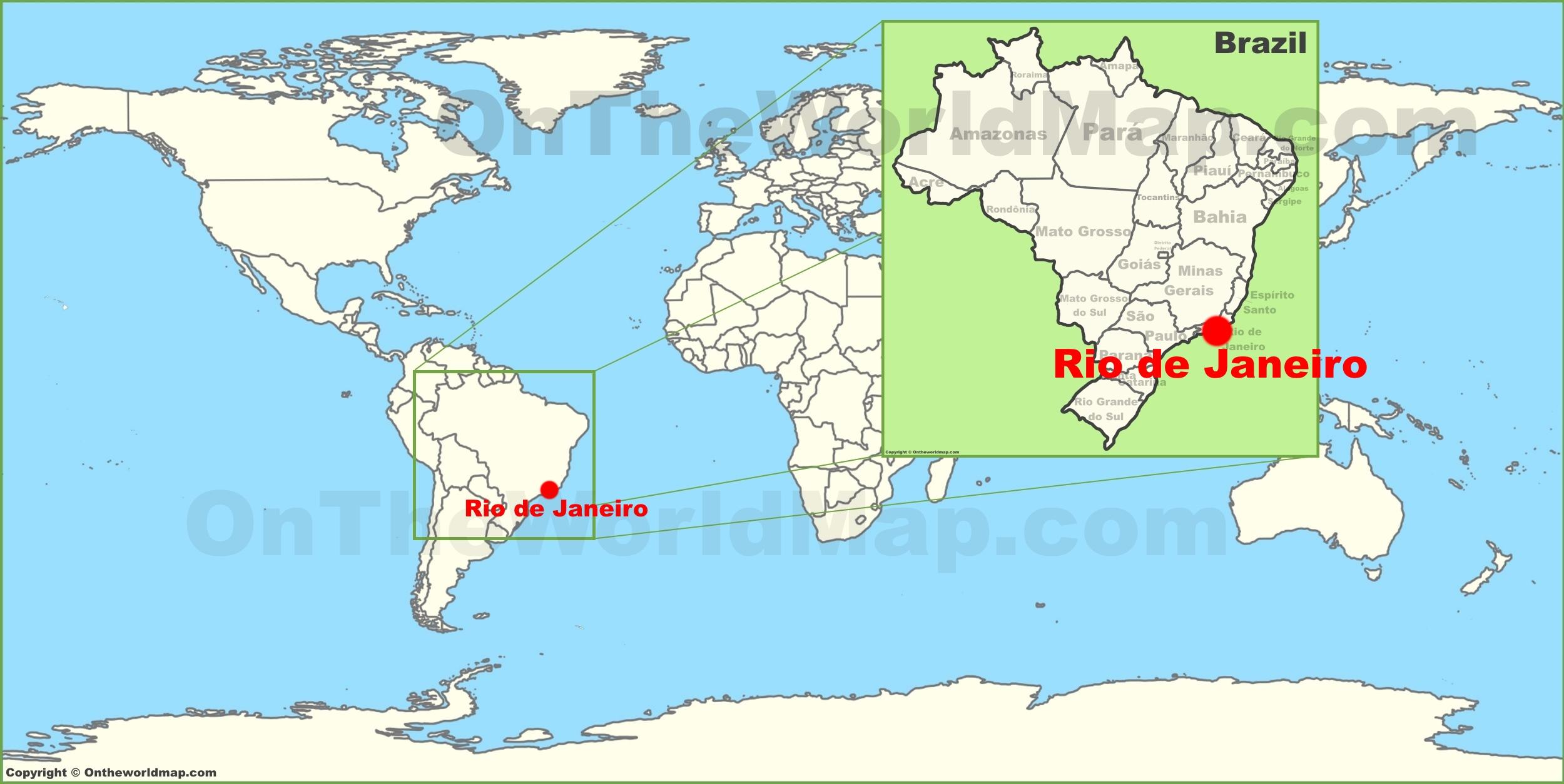 Rio de Janeiro on The World Map