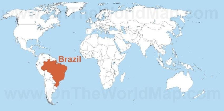 Brazil on the World Map Brazil on the South America Map