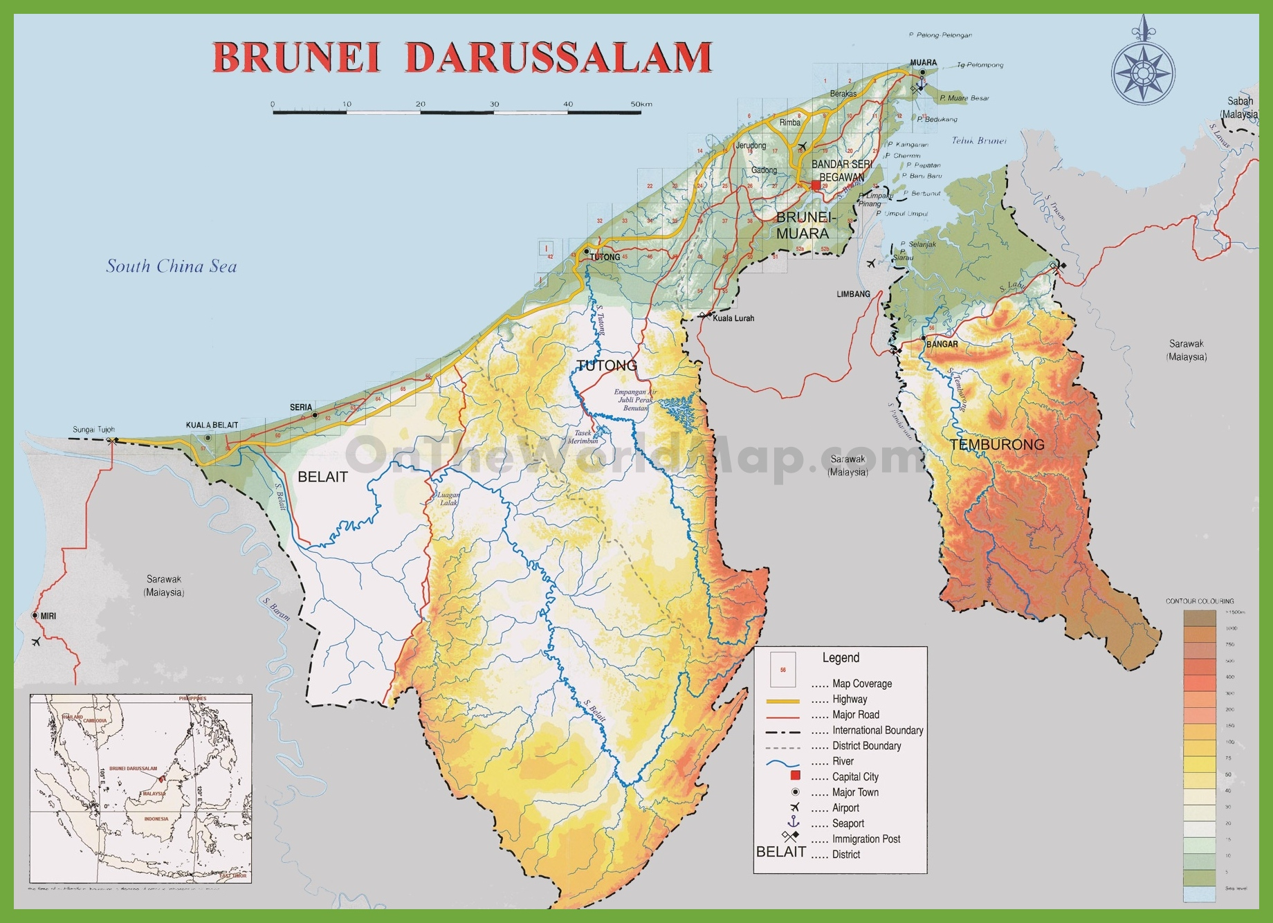 Brunei physical map brunei physical map gumiabroncs Gallery