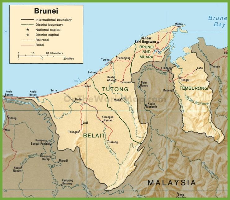 Road map of Brunei