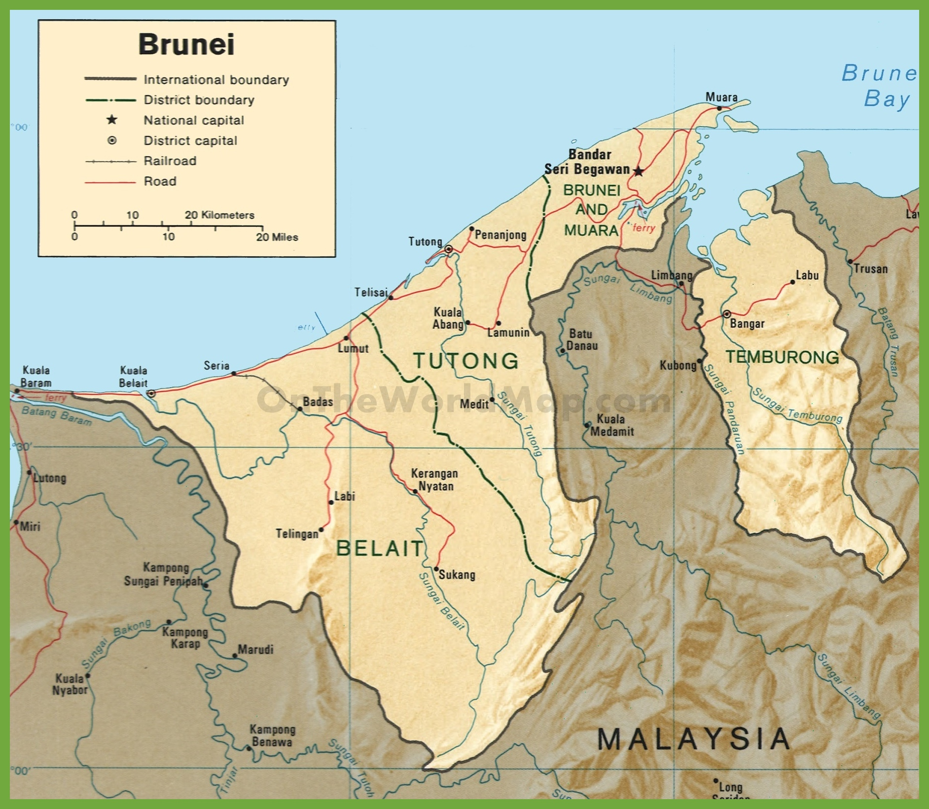 Brunei maps maps of brunei darussalam road map of brunei gumiabroncs Gallery