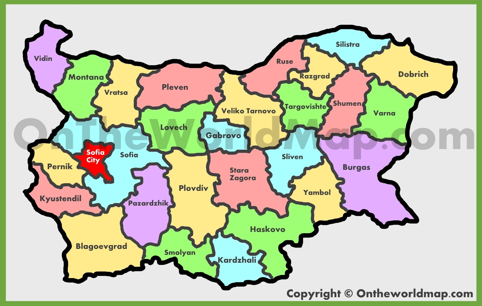 Administrative map of Bulgaria