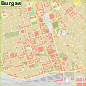 Burgas city center map