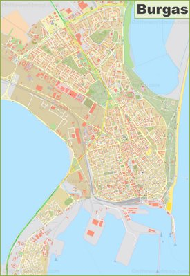 Large detailed map of Burgas