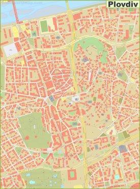 Plovdiv city center map