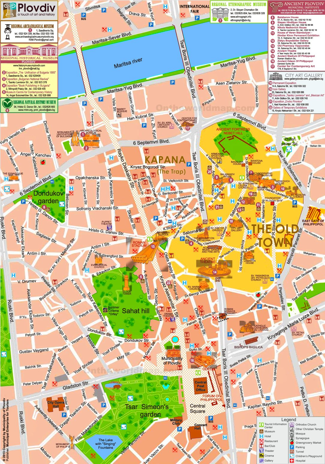 Plovdiv Hotels And Sightseeings Map