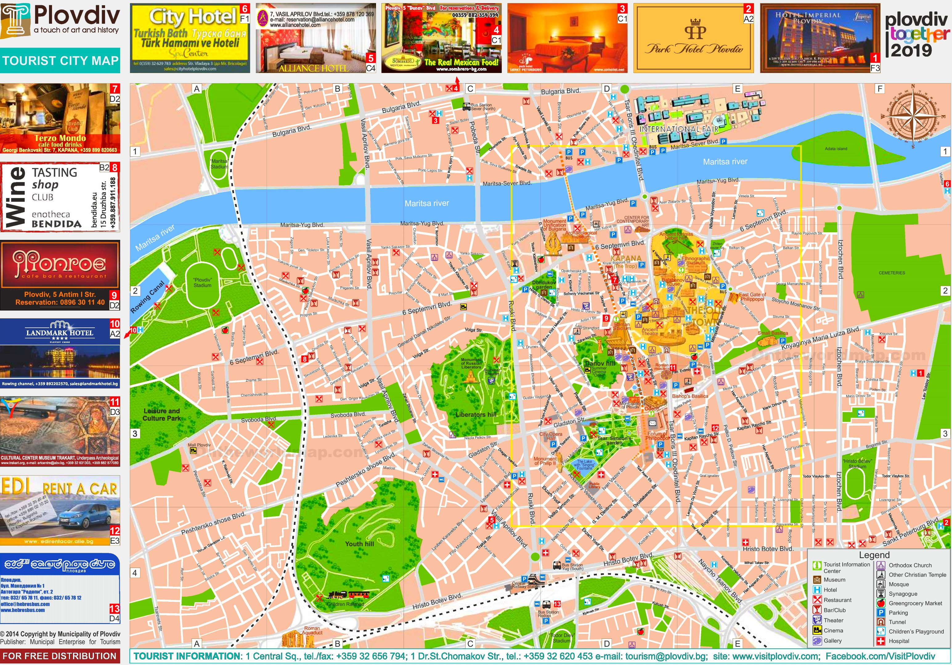 Plovdiv Tourist Map