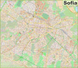 Large detailed map of Sofia