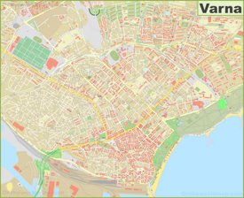 Large detailed map of Varna