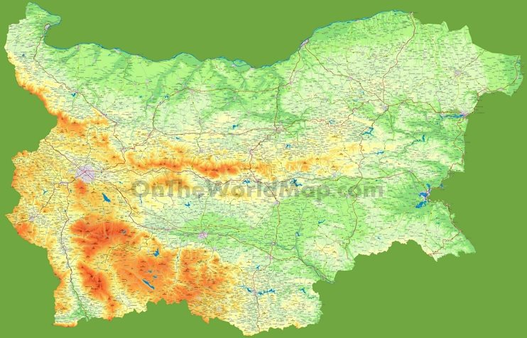 Large detailed map of Bulgaria with cities and towns