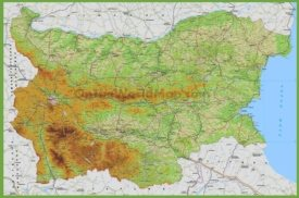 Large detailed road map of Bulgaria