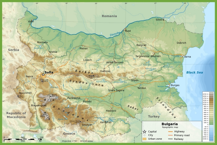 Large physical map of Bulgaria