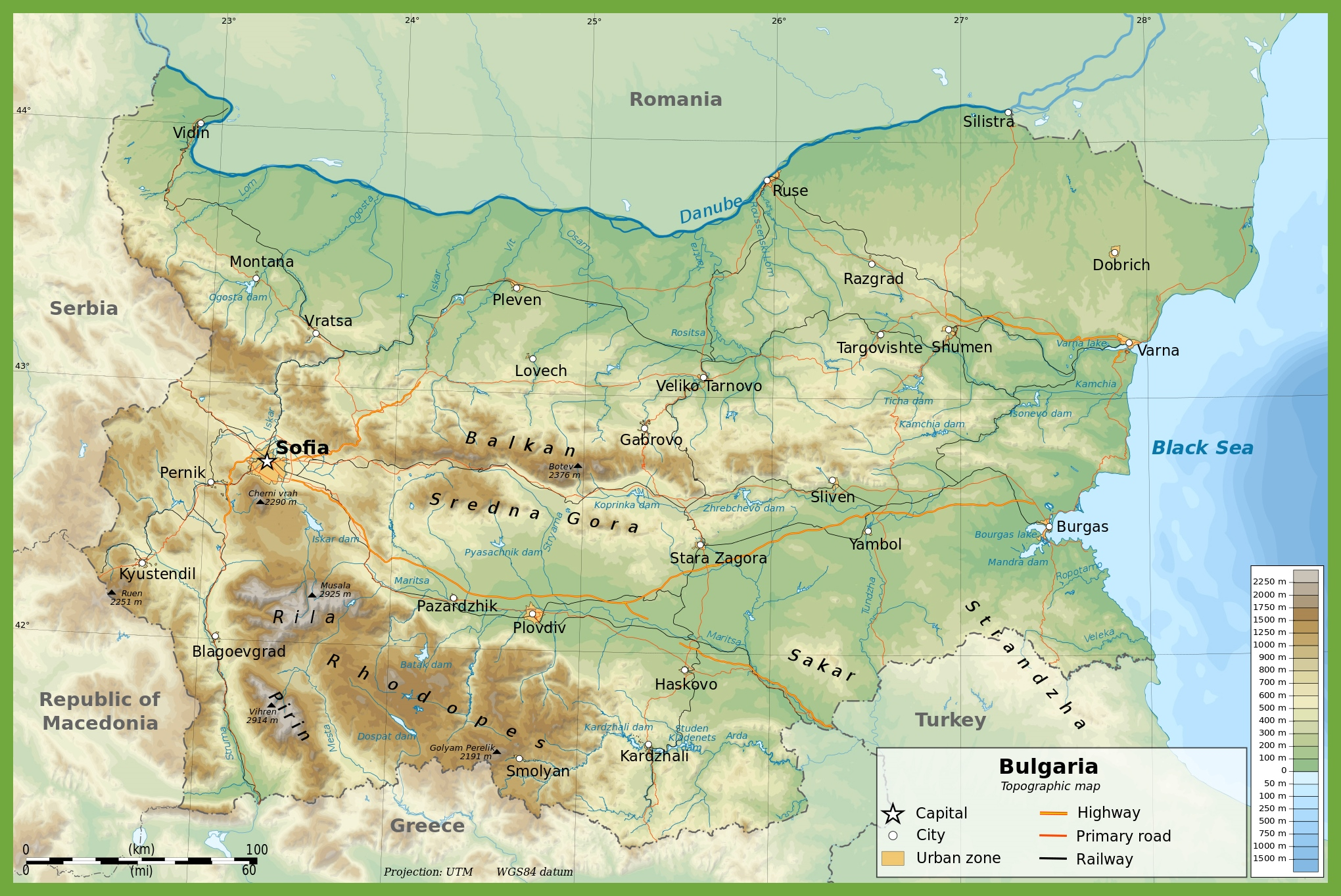 Large Physical Map Of Bulgaria - Bulgaria map