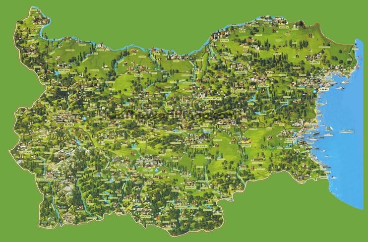 Travel map of Bulgaria