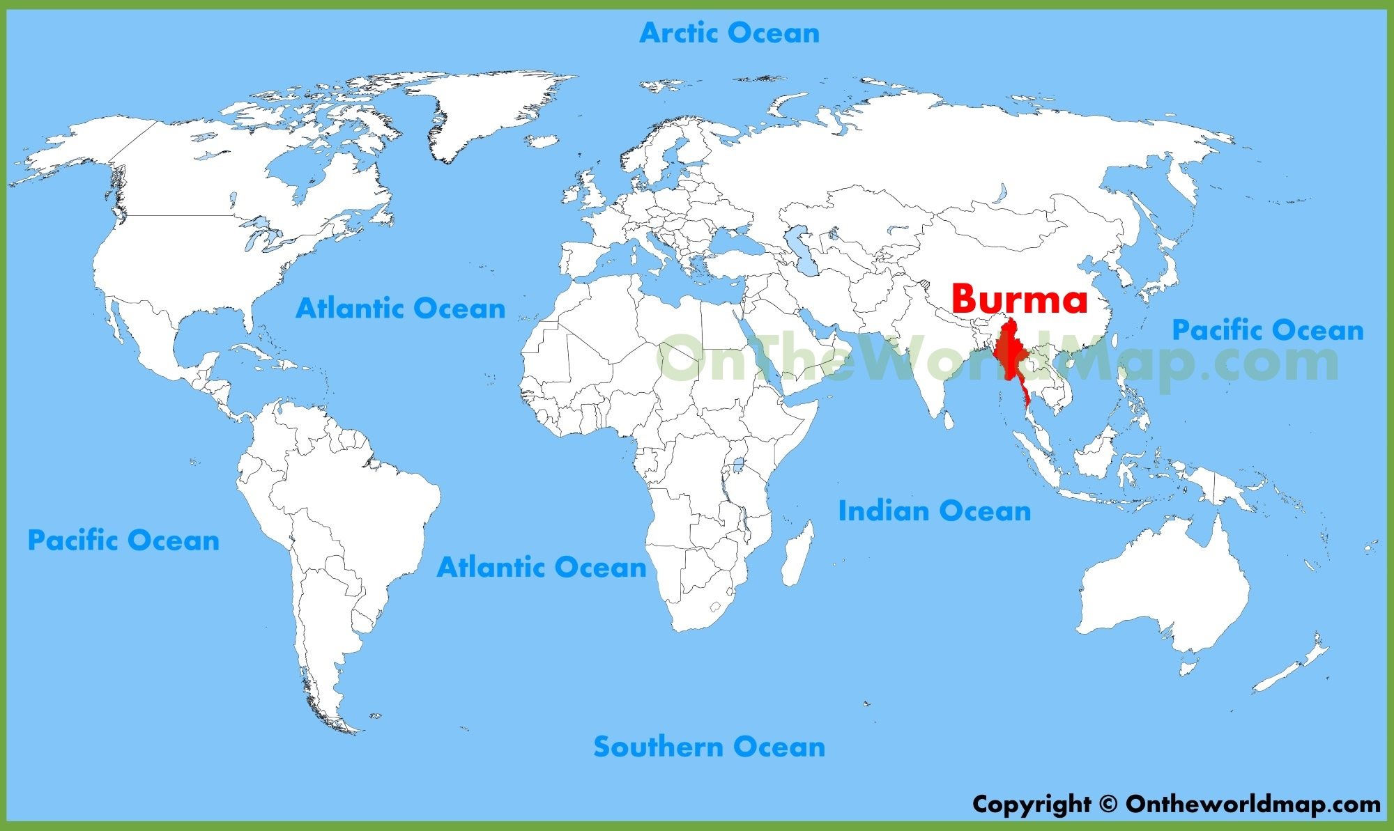 Burma World Map Burma location on the World Map