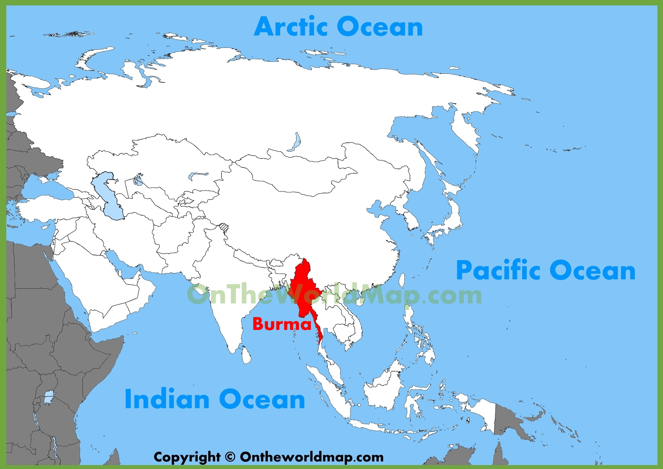 Burma World Map Burma location on the Asia map