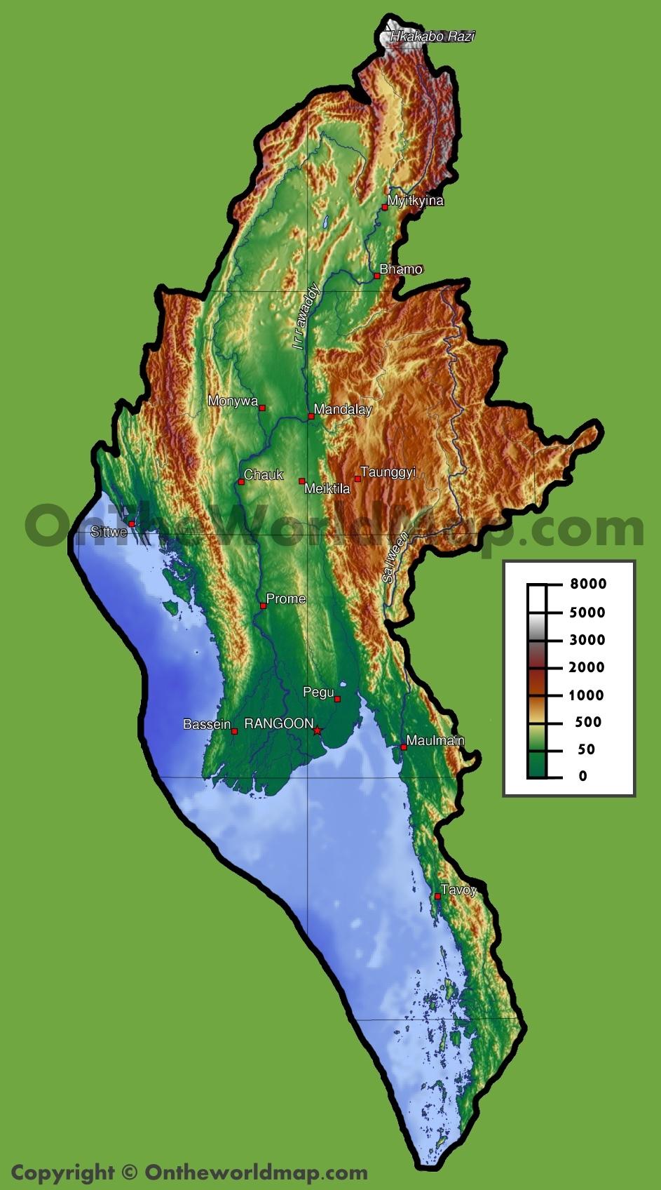 Burma physical map