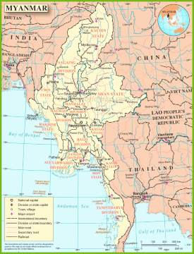 Large detailed map of Burma