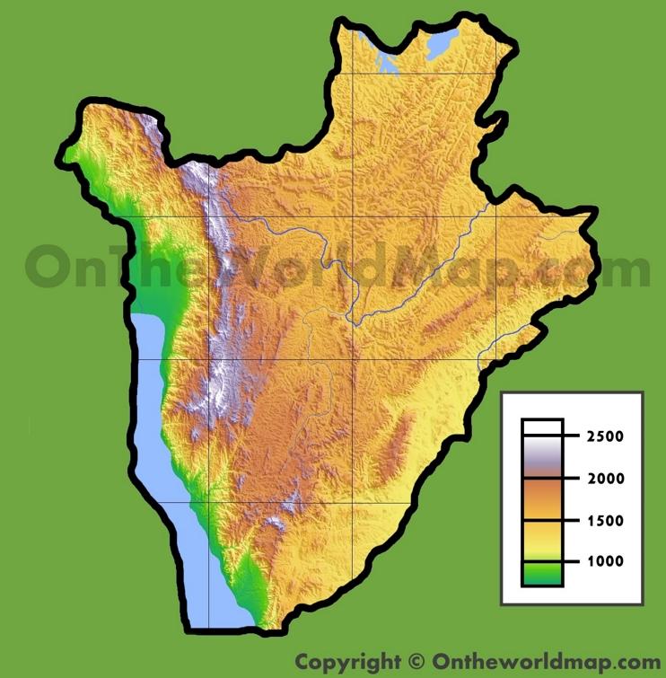 Burundi physical map