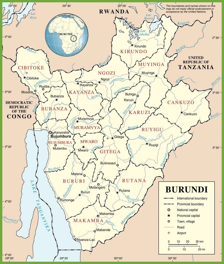 Large detailed road map of Burundi
